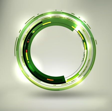 Abstract dark green lightened rounds, forming a cool placeholder with flashes and light effects. Иллюстрация