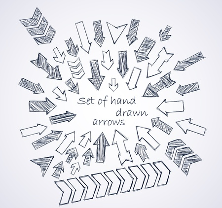 sketched shapes: Set of vector hand drawn arrows