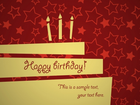 red and yellow card: Abstract birthday greeting card template Illustration