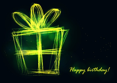 neon wallpaper: Shiny contours of a present box with glowing sparkles on a black background.