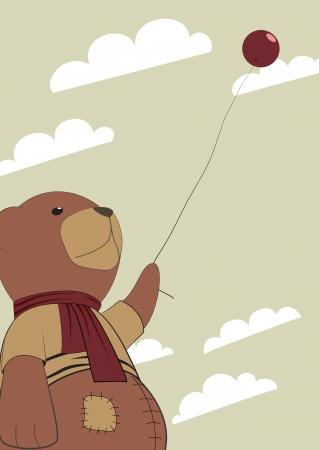 moody sky: Un orso malinconico orsacchiotto con un palloncino in una mano. Illustrazione vettoriale Strano.