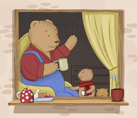 A drawing of three teddy bears drinking tea. Vector illustration Vectores