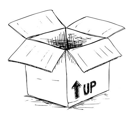 pencil box: Hand drawn open box contours, Vector image Illustration