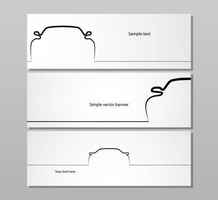 business card design: Set of three monochrome car contour backgrounds