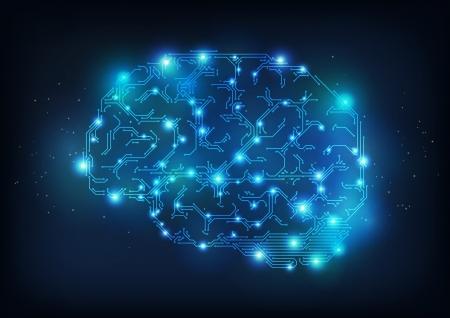 Hola cerebro tecnología hecha de líneas eléctricas, que simboliza el progreso de las tecnologías de informática