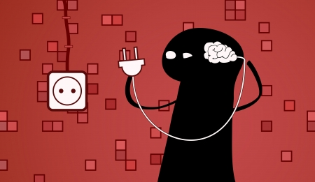 a doodle with a brain on a wire. vector illustration.