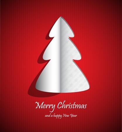 christmas template: tagliare la carta in forma di un albero di nuovo anno.