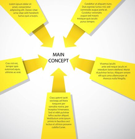 conclusion: Concept for business presentations. Five arguments lead to a conclusion.