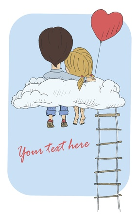 young woman sitting: A vintage postcard with a loving couple sitting on a cloud. Vector illustration Illustration