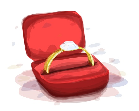 diamond ring in the red box, watercolor style Vector