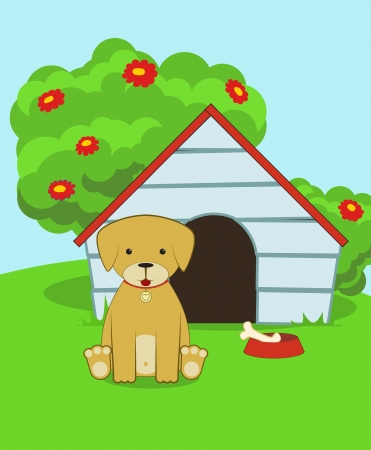 Cute cartoon puppy sitting near the dog kennel, vector illustration. Vector