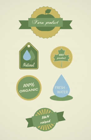 Set of ecology labels for natural products. Vector tags Stock Vector - 15527179