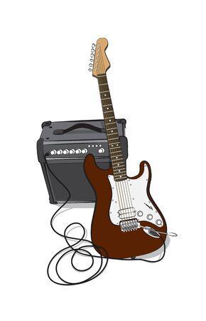 electric guitars: Cool realistic electric guitar with an amplifier isolated on white. Vector image. Illustration