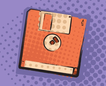 fdd: 3,5 floppy disk grungy comic style. Vector image. Illustration