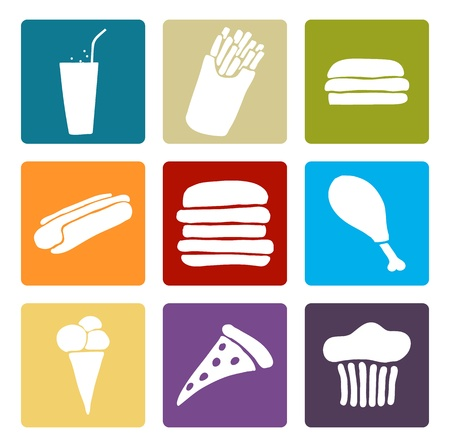 Set of fast food multi colored icons, Vector image. Vector