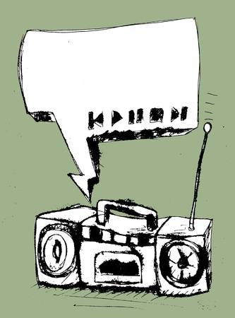 Graffiti background. A speech bubble with audio player buttons coming out of a distorted boombox.  Vector