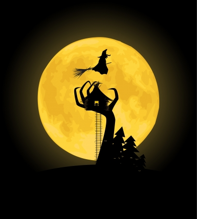 Dark Halloween background. A silhouette of a witches house hut on an ugly tree. Vector image. Vector