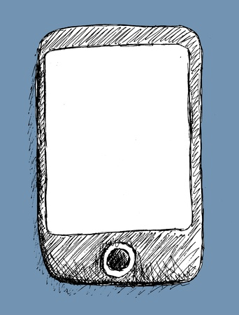 tablet pc in hand: Hand drawn mobile phone with a blank screen