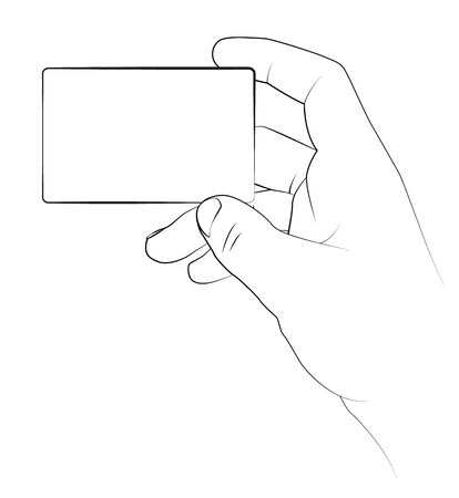 picture card: Hand holding a blank business card, Vector image.