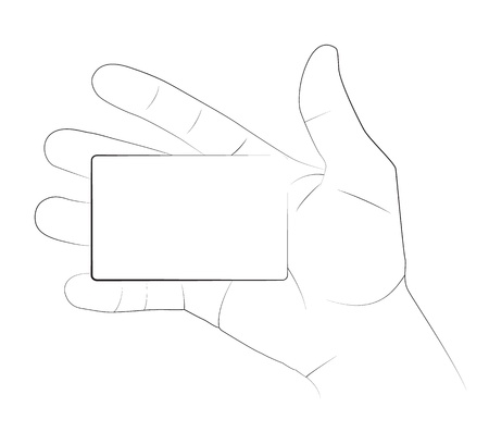 hand holding paper: Hand holding a blank business card, Vector image.