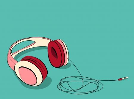 equipo de sonido: fresco auriculares de color rosa puesta, ilustraci�n vectorial. Vectores