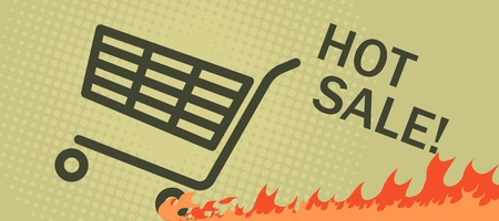 Hot sale poster with a shopping cart leaving a burning track after it. Vector