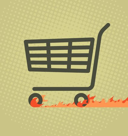 purchase icon: Sale poster with a shopping cart leaving a burning track after it.