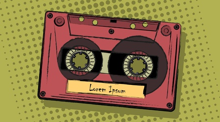 placeholder: retro analogue cassette in a comic style with a placeholder sticker for your text. Vector illustration. Illustration