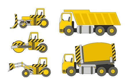 Set of heavy construction machinery, Vector image.