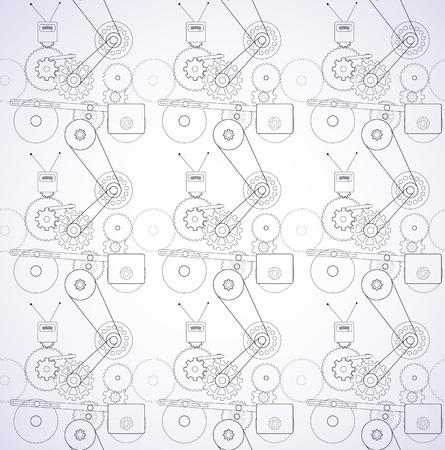 complex system: Seamless mechanism texture, vector image.