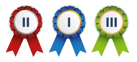 rankings: Three ribbon badges for competition winners. Illustration