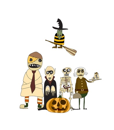 Set of scary Halloween monsters, cartoon style, isolated on white, vector image. Vector