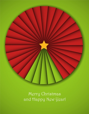 Christmas background with an origami decorative circle with a new year tree in it.  Illustration