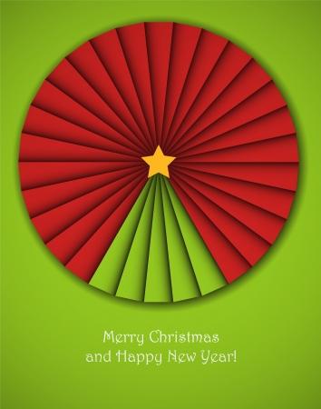 albero stilizzato: Sfondo Natale con un cerchio origami decorativa con un albero di nuovo anno in esso. Vettoriali