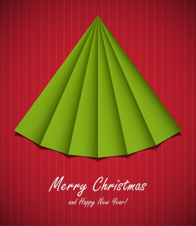 Creative origami Christmas tree postcard template. Stock Vector - 15527777