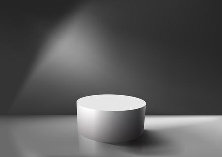 gray background: Realistic empty white podium