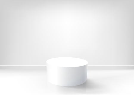 Vector white podium in an empty white room.