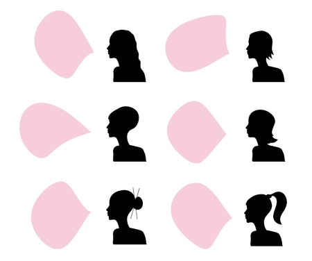 Women head silhouettes with speech bubbles, Vector image. Vector