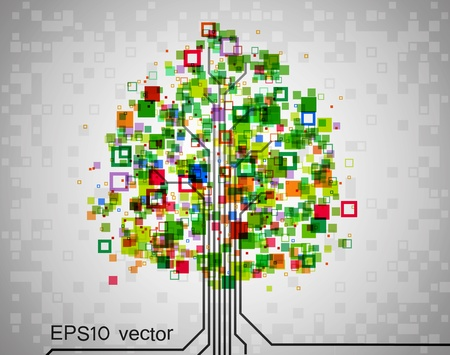 square root: Pixel tree, symbolizing technological progress of modern science