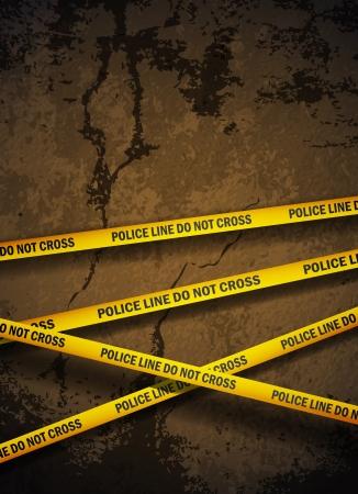 Politie gele tape opknoping over een gebarsten betonnen muur.