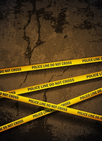 scene of a crime: Police yellow tape hanging over a cracked concrete wall.  Illustration