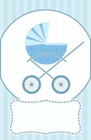 Un bébé bleu landau sur une carte de douche de bébé.