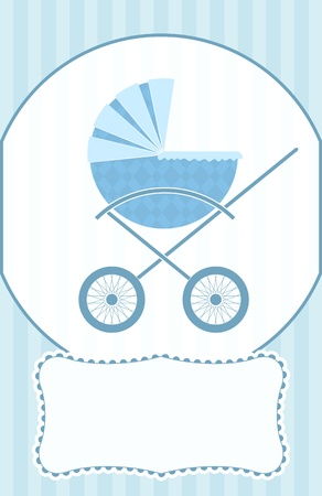 A blue baby pram on a baby shower card. Vector