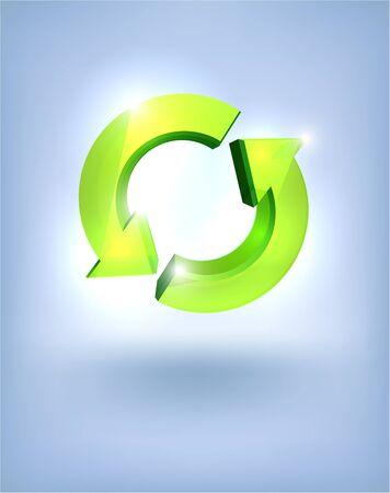 start fresh: 3D glossy refresh symbol on blue background