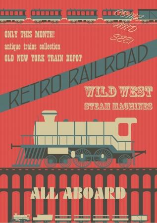 maquina de vapor: Los trenes de vapor Retro cartel de la exposición, imágenes vectoriales