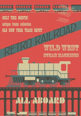 railway history: Retro steam trains exhibition poster, Vector image