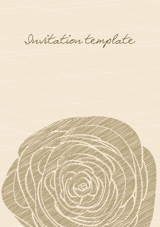 fayer: vintage invitation template with a rose contour  vector image  Illustration
