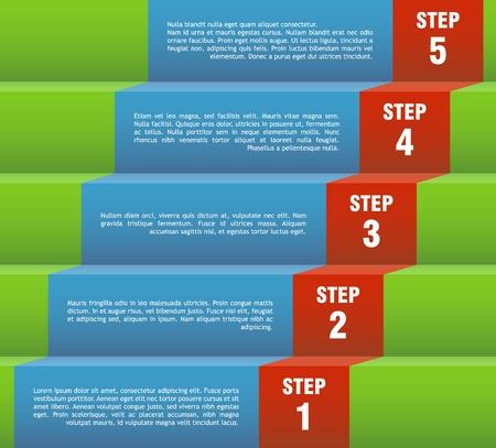 escalera: Vector plantilla para un paso a paso la p�gina de presentaci�n