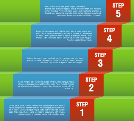stairs: Vector template for a step by step presentation page  Illustration