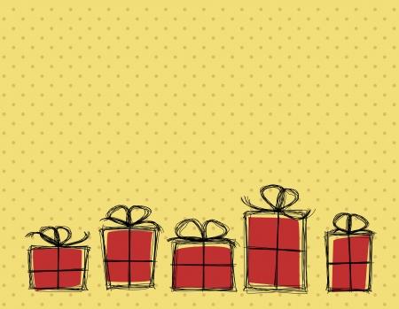 red and yellow card: Estilo simple de la historieta cumplea�os tarjeta personal con cajas de regalo de pie en una fila. Vectores